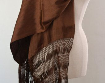 Rebozo mexicano medios Seda Chalina textura de seda marrón Chocolate chal tejido a mano abrigo Ikat de corredor