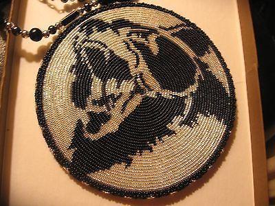 Native American Beaded Roaring Bear Medallion Necklace