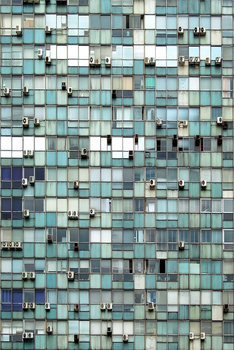 Glass mosaic bathroom tile, or skyscraper in Uruguay? Photo by Flickr user Pilar Almagro Paz http://www.flickr.com/photos/pilar-almagro-paz/2450756548