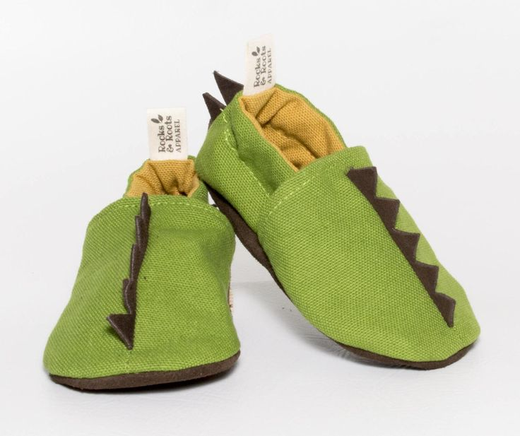 baby mocc. Dinosaur. leather soled moccasin, leather spikes. halloween dinosaur. toddler moccasin, mocc, Green organic cotton canvas. 0-3t by rocksandrootsapparel on Etsy https://www.etsy.com/listing/518363309/baby-mocc-dinosaur-leather-soled
