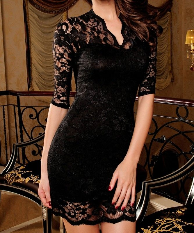 slim-lace-dress-clubwear-half-sleeves-black