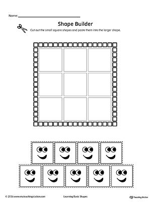 Geometric Shape Builder Worksheet: Square Worksheet.Cut out the Square shapes and paste them into the larger shape in this printable worksheet. Perfect for preschool children to practice recognizing shapes.