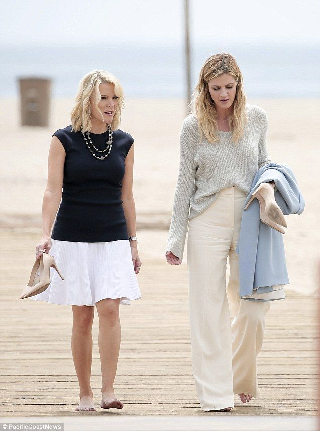Pals on the Pacific: Megyn Kelly was spotted strolling on the beach in Santa Monica with Erin Andrews on Wednesday