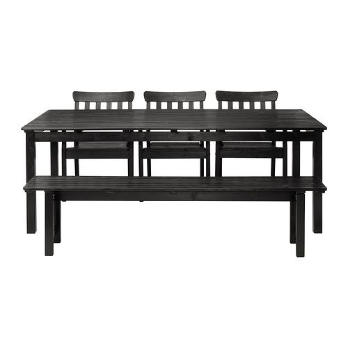 ÄNGSÖ Table with bench and 3 chairs - black-brown or white - IKEA, $459, outdoor