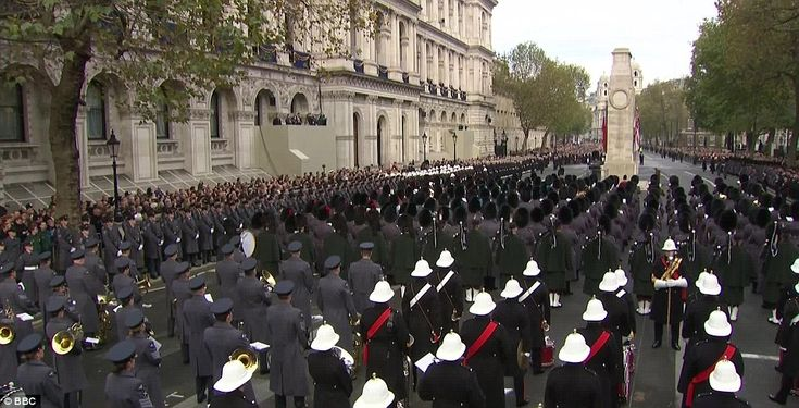 Service: Troops gathered in Whitehall this morning as they prepared to observe two minutes' silence in a remembrance service at 11am