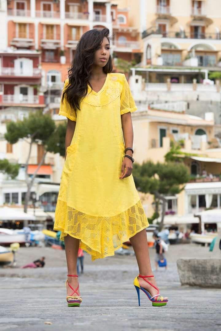 Camicione in lino 100×100linen#modapositano#positanofashion#summer#yellow#sun#IlovePositano