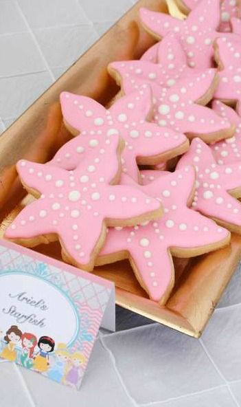 Ariel's starfish cookies at a Princess Birthday Party!  See more party planning ideas at CatchMyParty.com!