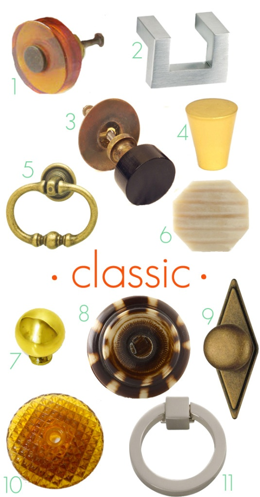 Classic drawer knobs and pulls. For the links to where to buy them, click through the the Little Green Notebook blog post: Details, Drawers Pull, Doors Knobs, Drawers Knobs, Knobs Favorite, Cabinets Knobs, Little Green Notebooks, Cabinet Knobs, Decor Blog