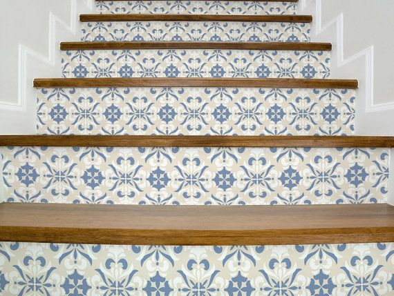 Stair decals VINTAGE BEIGE and BLUE beautiful stair stickers, decals for stairs, vinyl stickers, decals for living room, hall, kids room