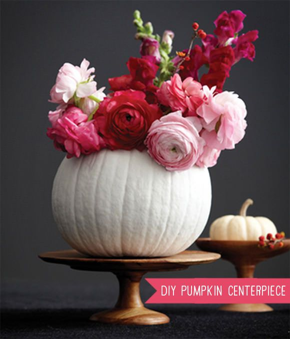 white pumpkin flower container for fall bridal shower or wedding