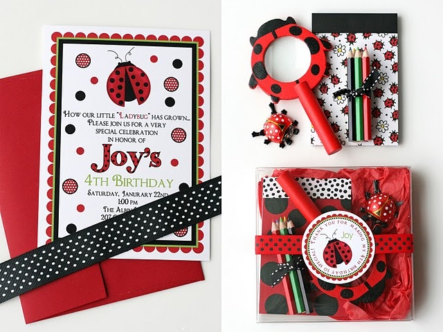 Ladybug Party Theme (Ladybug party invitations and party favors), from Glorious Treats