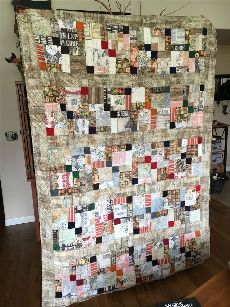 Tim Holtz Eclectic Elements charm packs quilt! Disappearing nine patch.