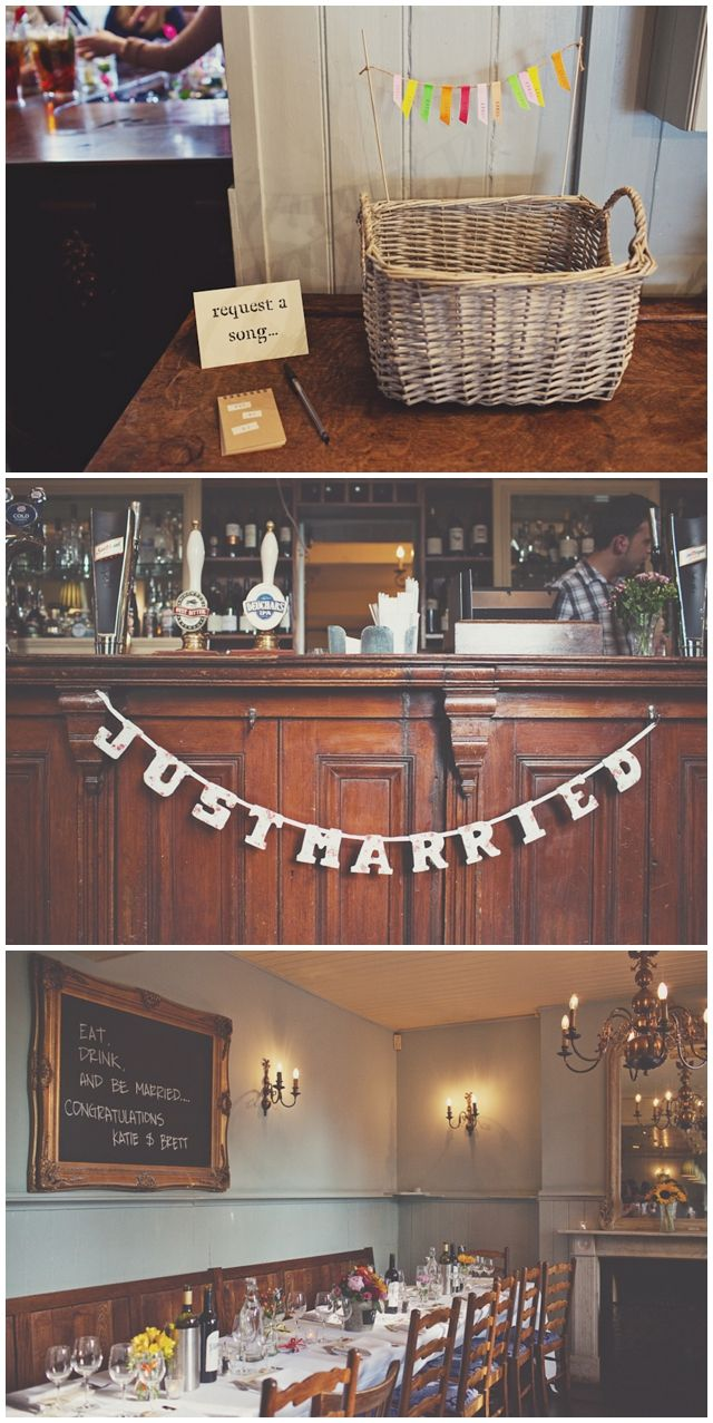 pub wedding/ ideas for the reception