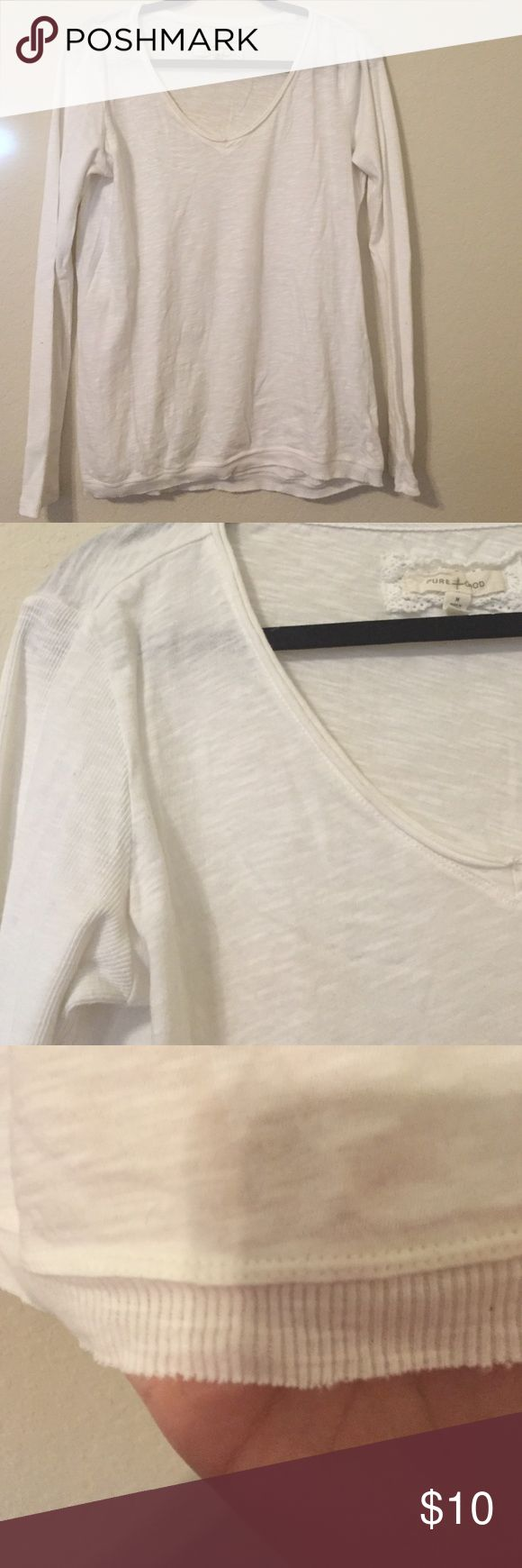 Long Sleeve Top White long sleeve top. Sleeves and hem made out of the same material. Looks like Anthropologie. Pure Good Tops Tees - Long Sleeve
