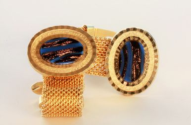Pair of Oval Cufflinks with Oval Blue and Gold Stone Centre