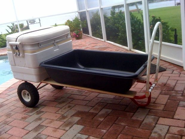 DIY Beach Cart for under $50 - perfect for a day at the beach, picnic-ing, diving, snorkeling, etc. with space to hold a cooler, chairs, blankets, towels and more