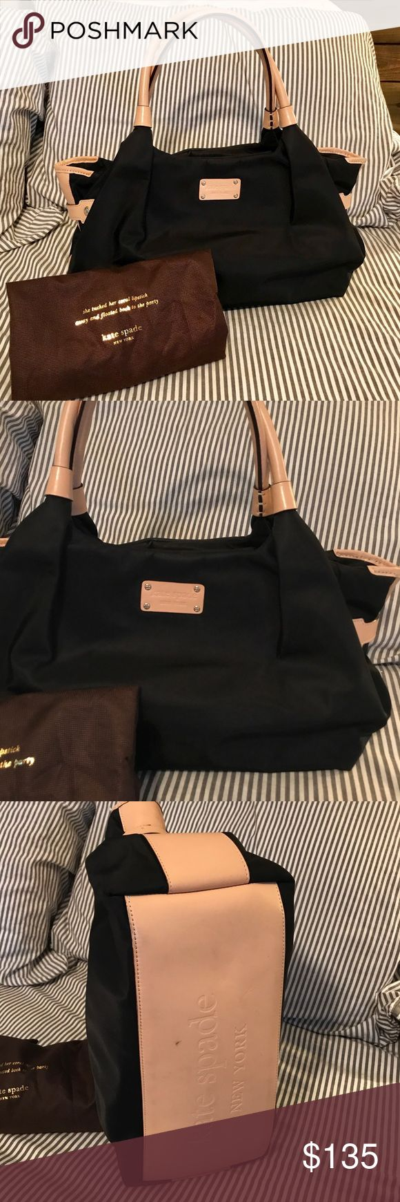 """EUC AUTHENTIC KATE SPADE Shoulder Bag I love this neutral, black Nylon bag. It won't stain or start to look """"shabby"""". I have taken pictures where slight signs of wear are shown. This bag will fit everything! I used a tote organizer with it. It has to inner pockets and one zipper pocket. Comes with a dust bag. I have high ratings, you won't regret getting this bag!   Dimensions: H: 10"""" W: 6"""" L: 14""""  Feel free to ask questions about this great bag! kate spade Bags Shoulder Bags"""