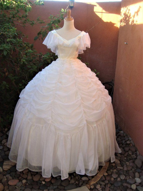 14c8b8f4176 Vintage White   Ivory Cinderella Southern Belle Gown Gypsy Chiffon Wedding  Dress by Mike Benet Formals Size 8
