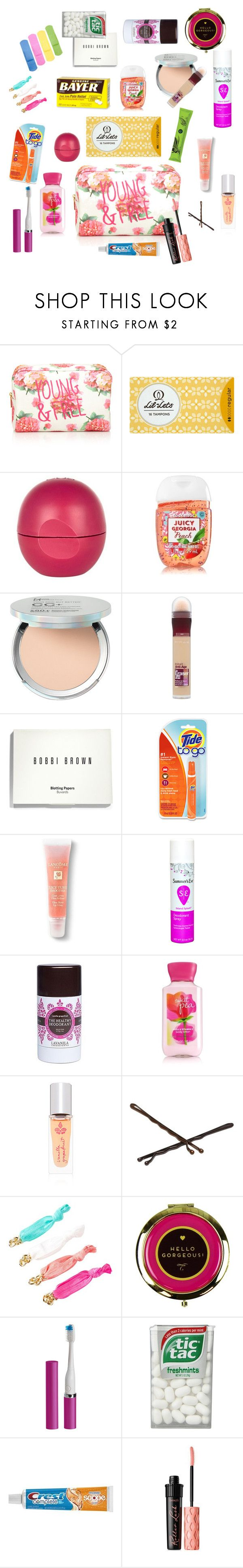 """Girl's Emergency Kit for School"" by shelbiedawn ❤ liked on Polyvore featuring beauty, Forever 21, River Island, It Cosmetics, Maybelline, Bobbi Brown Cosmetics, Lancôme, Lavanila, Goody and Violight"