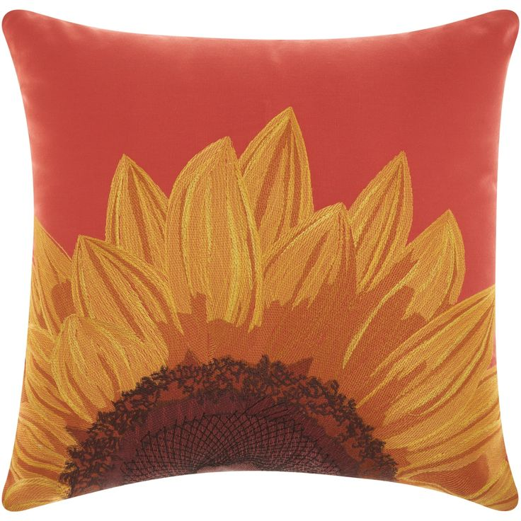 """Mina Victory Indoor/ Outdoor Sunflower Coral Throw Pillow by Nourison (18 x 18-inch) (18"""" x 18""""), Orange (Acrylic, Floral)"""