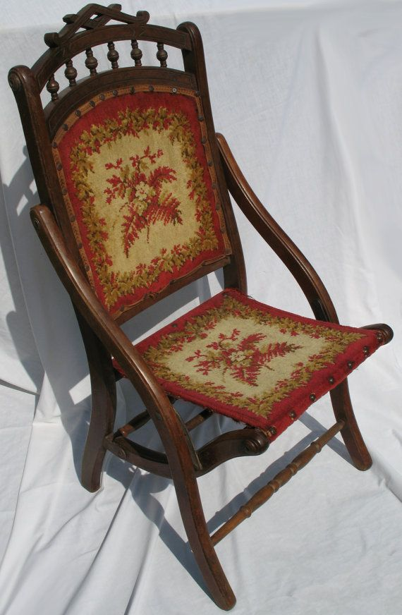 Victorian Folding Tapestry Chair Etsy Tapestries And Chairs