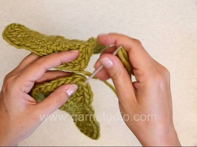 DROPS Crochet Tutorial: How to sew together crochet squares