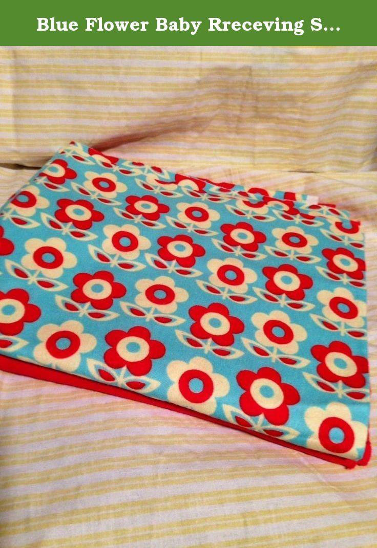 Blue Flower Baby Rreceving Swaddling Blanket Double Sided