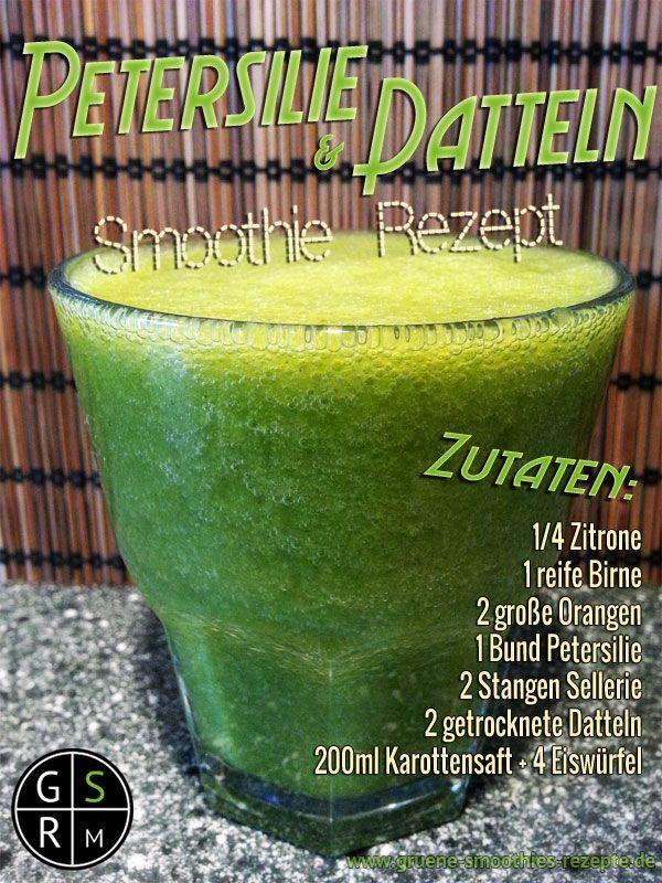 Grüner Smoothie mit Petersilie und Datteln
