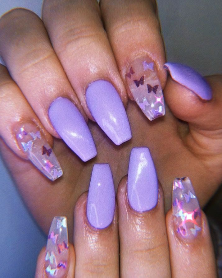 Lilac Butterflies In 2020 Purple Acrylic Nails Lavender Nails Short Acrylic Nails Designs