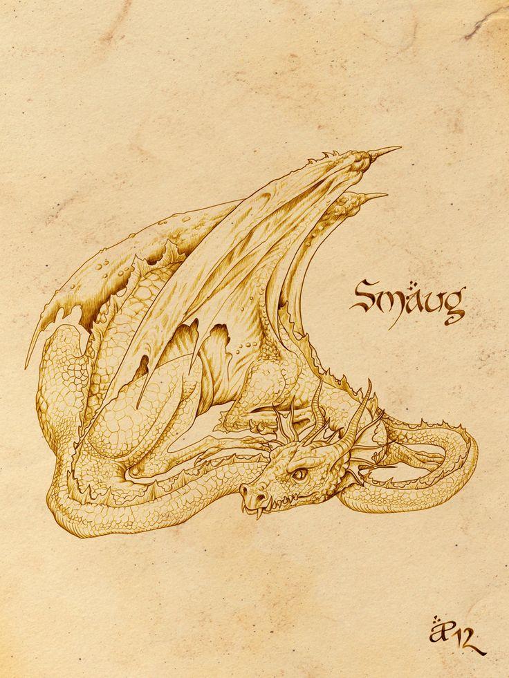 """Smaug the Golden"" by AlessiaPelonzi.deviantart.com (Tolkien fan art)."