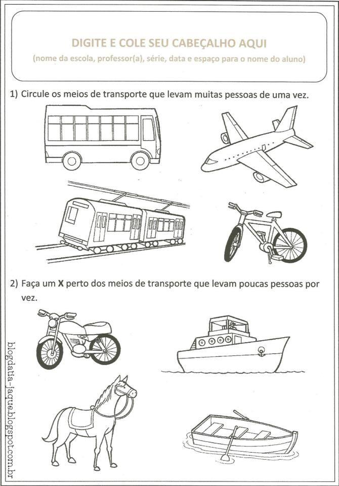 Atividades Prontas Meios De Transporte Transportes Kindergarten