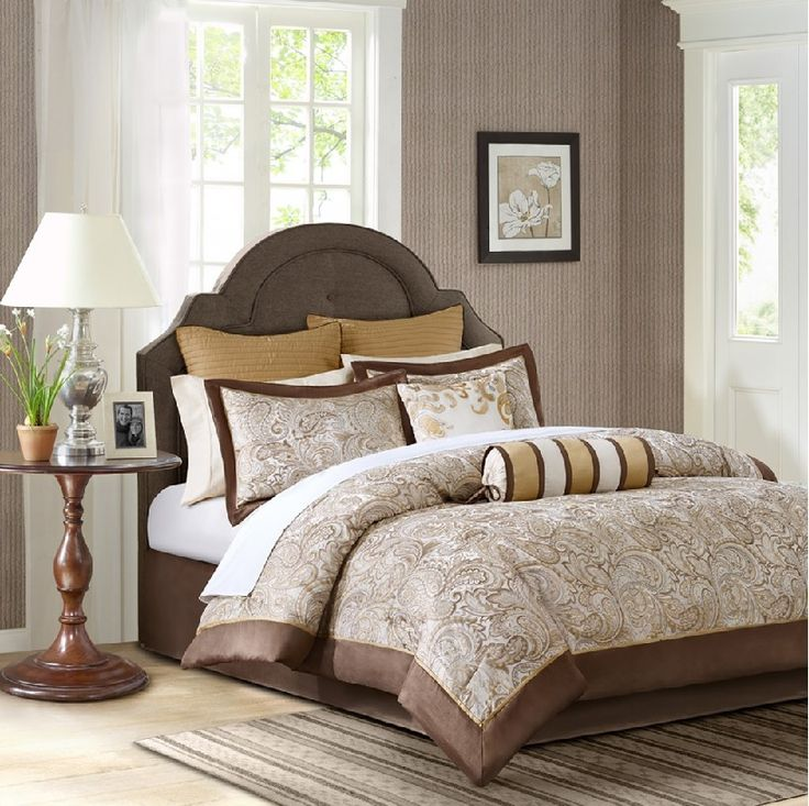 Aubrey in Gold, Chocolate Brown with Hint of Ivory Classic Jacquard Weave Paisley Motif Comforter Sets by Madison Park
