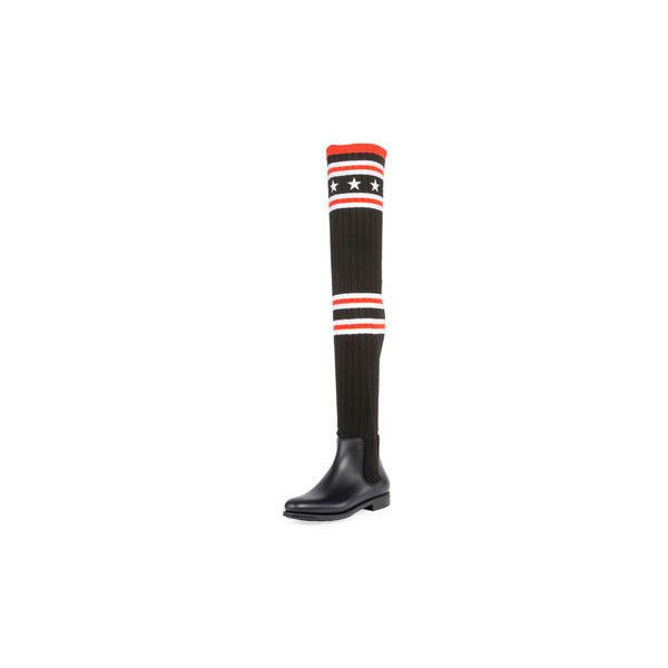 Givenchy Over-the-Knee Rubber Sock Boot ($550) ❤ liked on Polyvore featuring shoes, boots, shoes boots, over the knee sock boots, rounded toe boots, over-knee boots, above the knee boots and thigh-high boots