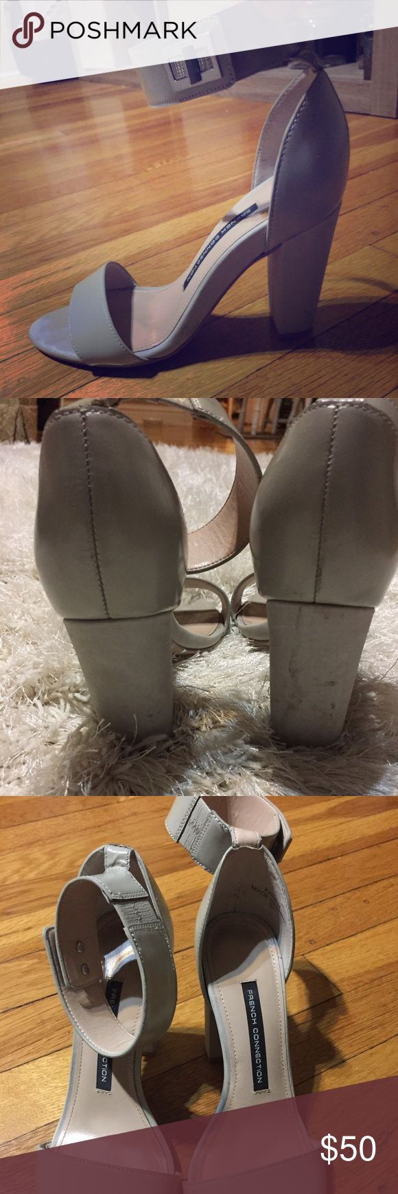 French connection grey strappy heels size 7 Tall grey strappy heeled sandal with leather upper and synthetic lining and synthetic sole size 7 or 37 French Connection Shoes Heels