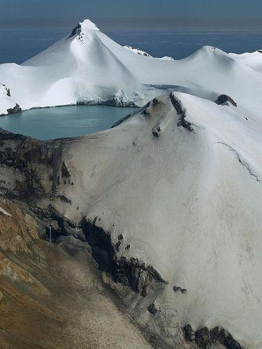 the summit of mt ruapehu, north island, new zealand.