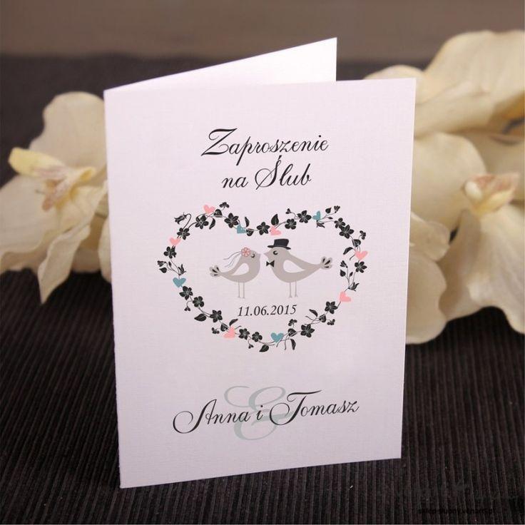 Zaproszenia ślubne ptaszki w sercu (Kod: KP026) Zaproszenia papierowe Zaproszenia ślubne -Venarti
