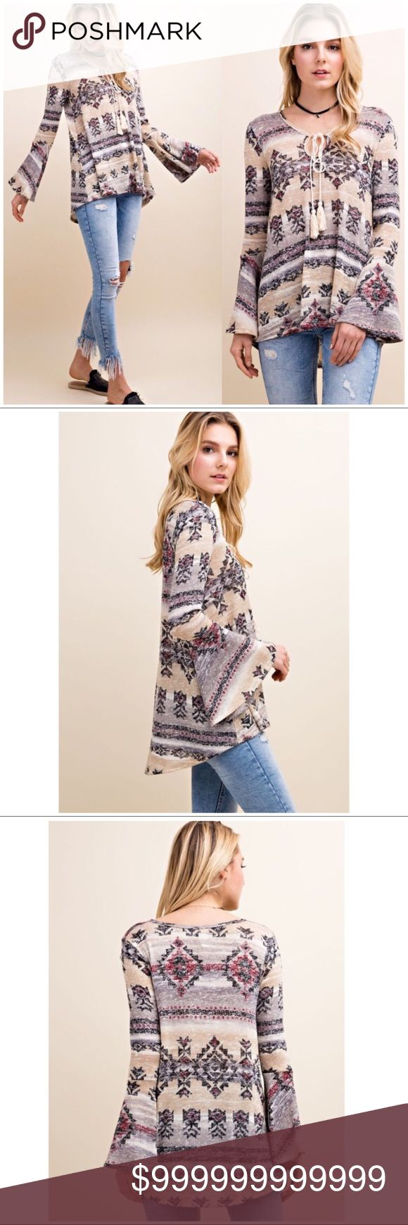 COMING SOON!! Bell Sleeve Tribal Print Sweater Bell Sleeve Tribal Print Tassel Sweater. Polyester blend. Color: Wine Sweaters V-Necks