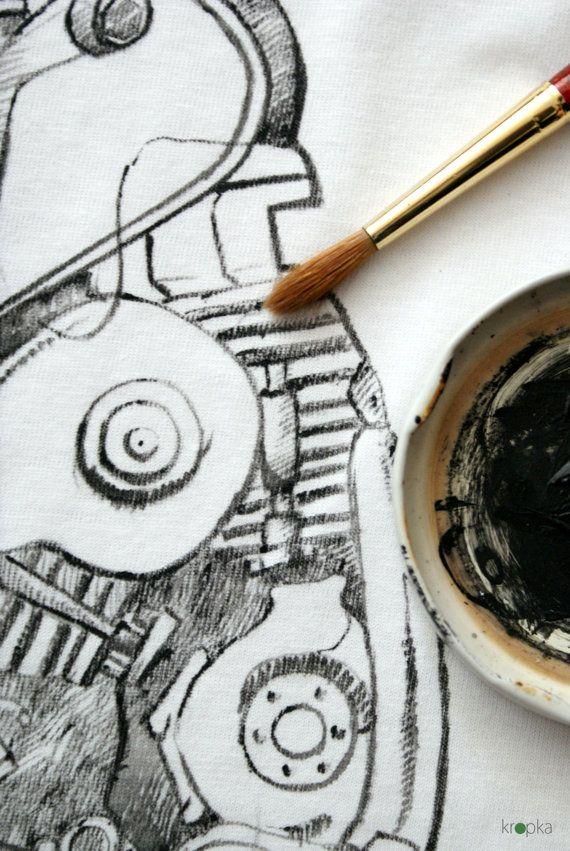 Motorcycle tshirt Hand painted engine tee OOAK by KropkaDesign