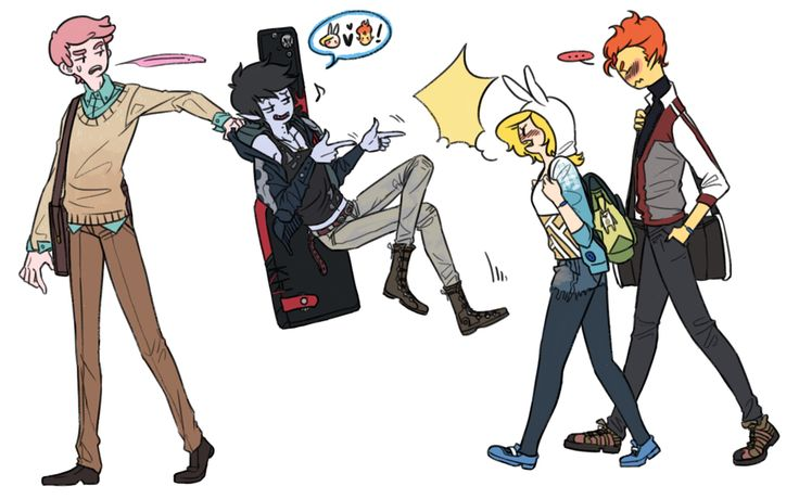 Prince Gumball, Marshall Lee, Fionna, Flame Prince from Adventure Time