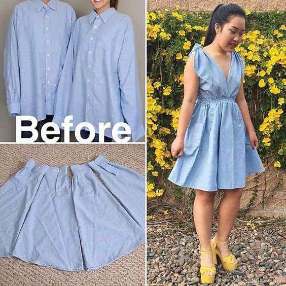 The skirt was made out of 4 SHIRT SLEEVES! Go watc…