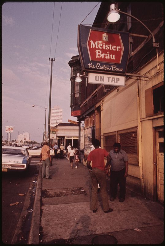 Street Scene On 47th Street In South Side Chicago, A Busy Area Where Many Small Black Businesses Are Located, 06/1973