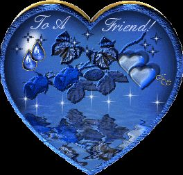 """A BLUE HEART WITH THE WORDS """" To A Friend """" INSIDE, AND IT SPARKLES INSIDE TOO !!!!"""