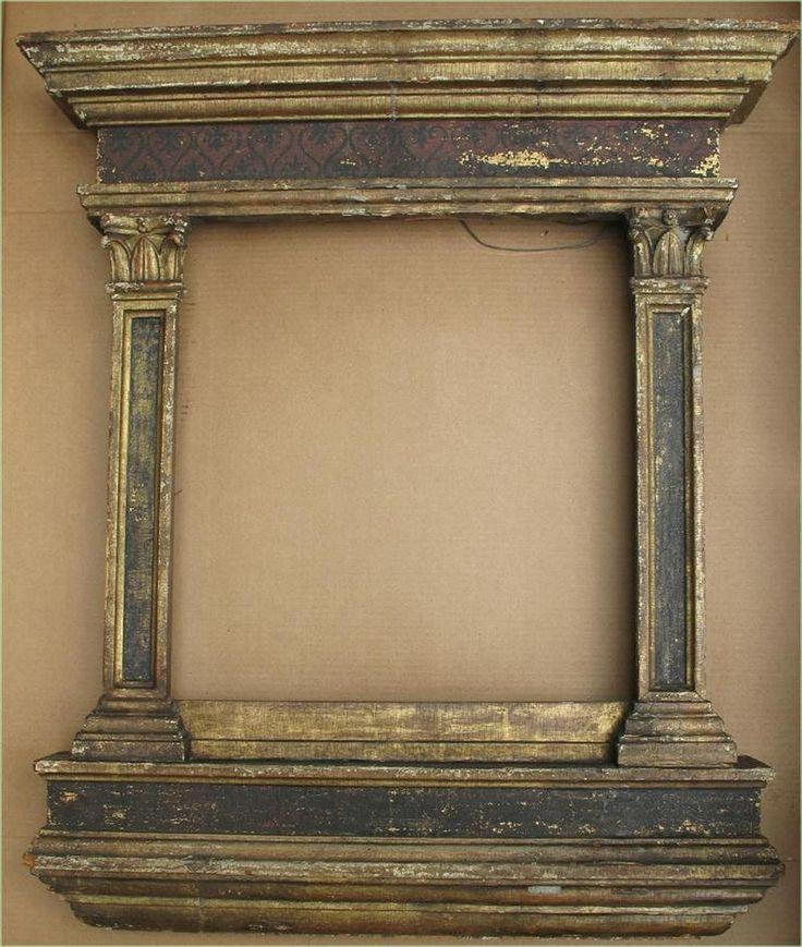 1 of 7 : Italian Renaissance parcel gilt and painted Tabernacle frame  17th. Casper estate.  FR3SHc