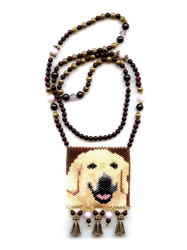 Sale Golden Labrador Retriever Dog Peyote Seed Beaded