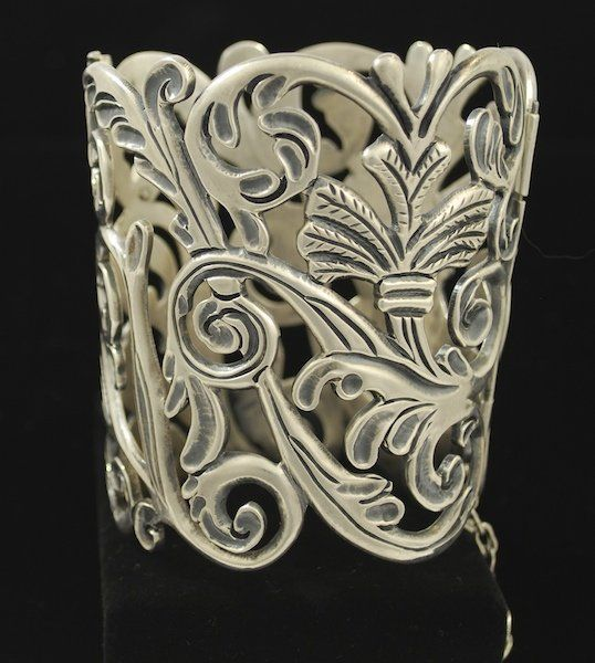 Mexican Wide Silver Cuff Bracelet