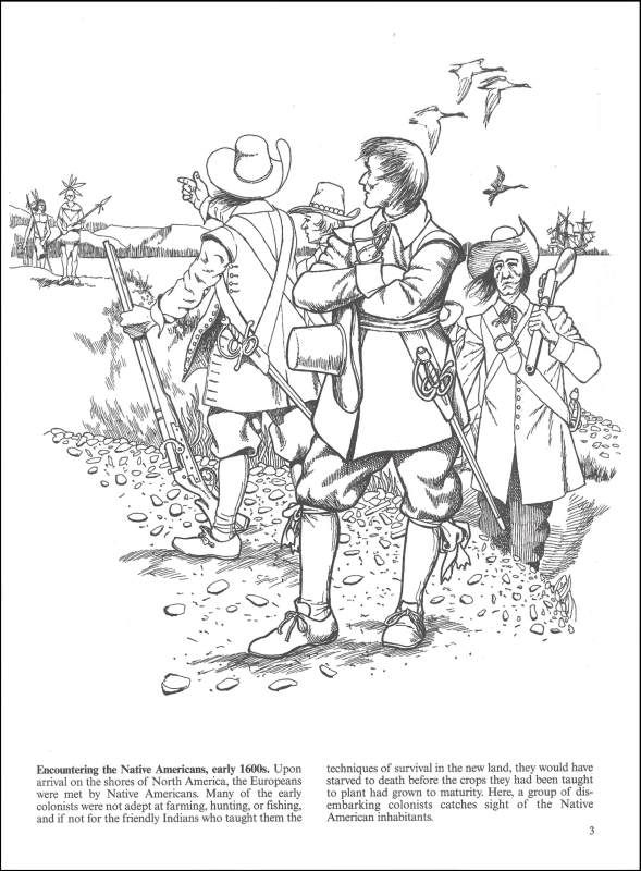 colonial america coloring pages