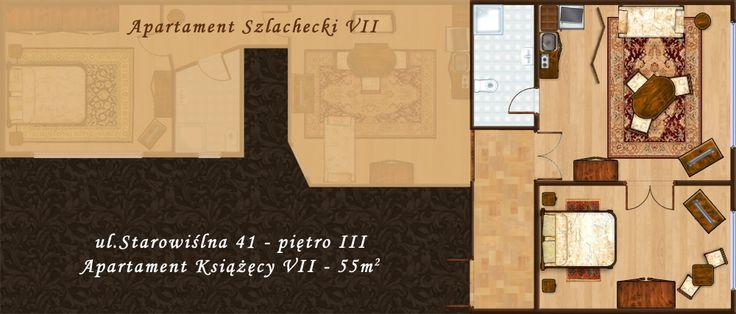 Rzut apartamentu przy ul. Starowiślnej 41 w Krakowie http://apartamenty-florian.pl