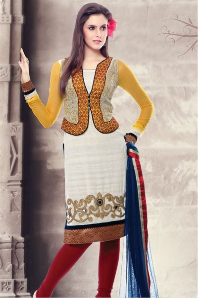 Outstanding cream & maroon cotton silk suit