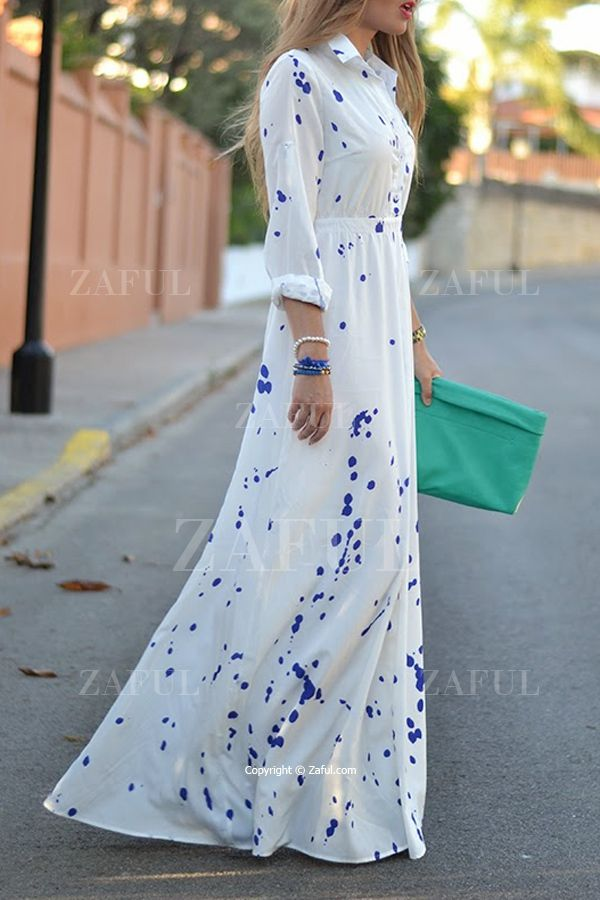 Ink Print Shirt Neck Long Sleeve Maxi Dress. ZAFUL $12.99