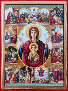 Εικόνες-Αγίων-Βυζαντινές-αγιογραφίες-ορθόδοξες-εικόνες-χειροποίητες-εκκλησιαστικά είδη: Παναγία με Χριστό ο Βίος